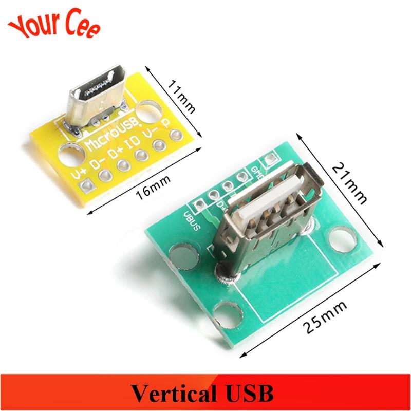 Vertical USB MiCroUSB hembra 180 grados vertical la mujer cabeza de prueba placa universal 2,54mm PCB adaptador soldadura socket