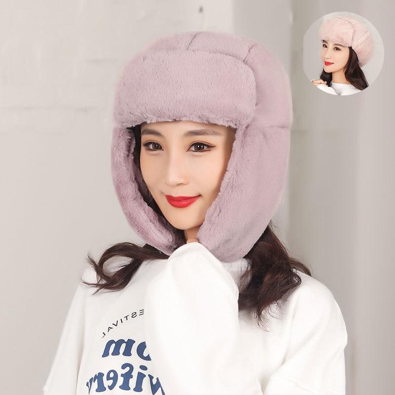 Winter Bomber Hat Women thicken Plush Lei Feng Hat Women Outdoor Warm Cotton Hat Winter Anti-snow Ea