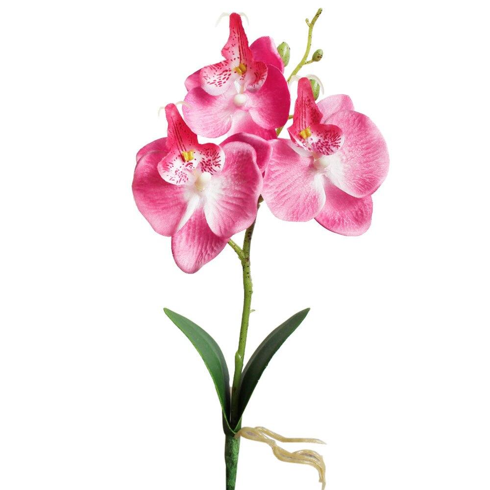 Venta caliente nuevo 1pc 25cm decoración para bodas flores artificiales triple cabeza Artificial seda orquídea mariposa flor hogar boda