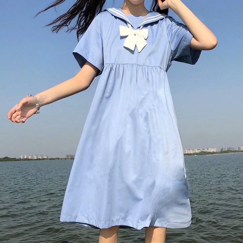 Skirt Female 2020 Summer New Korean Solid Thin Long Dress school uniform  japanese fashion  sailor dress  school dress