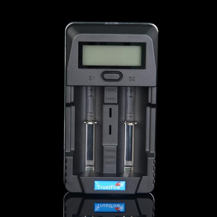Trustfire TR-011 digital carregador de bateria de lítio inteligente 2 slots display lcd com porta usb para 18650 14500 26650 baterias