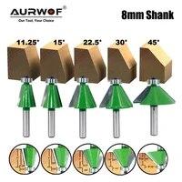 lavie 5pcs set 8mm shank chamfer router bit 11 25 15 22 5 30 45 degree milling cutter for wood woodorking machine tools mc02111