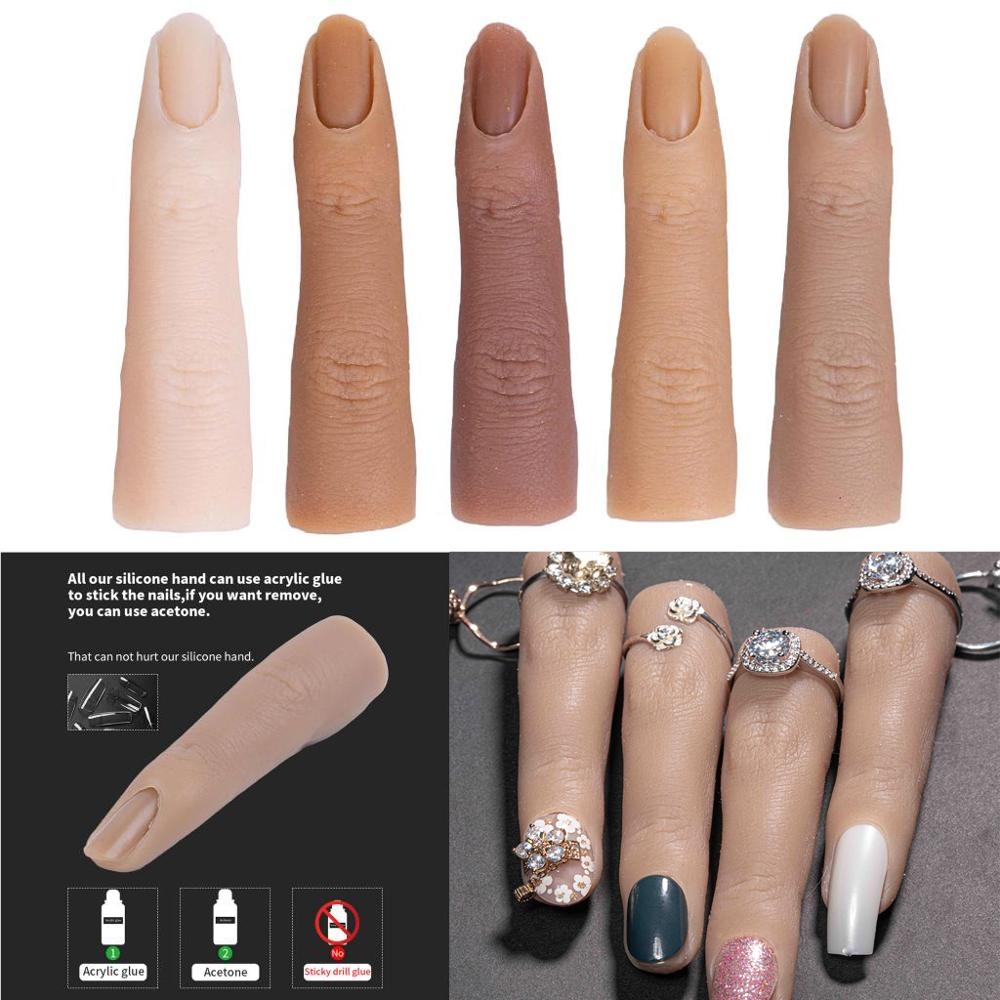 Nail Art Training Hand Fake Finger Natural Nail Tips Manicure Tool Nail Practice Model Display Finger Nail Art Tools