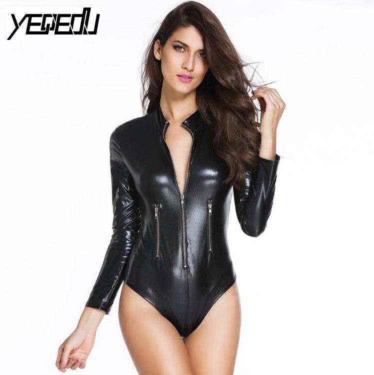 #0801 Faux Leather Bodysuit Women Long Sleeve With Zippers Sexy Clubwear PVC Feminino Nightwear Gold/Black 4XL
