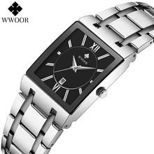 WWOOR 2021 New Top Brand Luxury Silver Black Men Watch Fashion Square Quartz Waterproof Calendar Wri