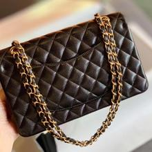 classic luxury designer chain strap woman flap shoulder bag handbag lady import genuine leather Euro