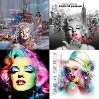Peinture sur toile coloree avec Portrait de Monroe  affiches et imprimes