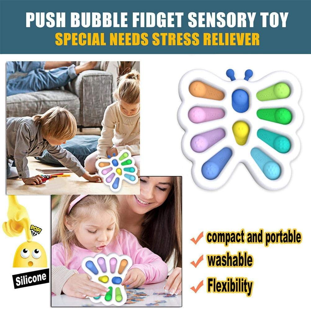 Baby Dimple Fidget Toy,Butterfly Flipping Silicone Board Stress Relive and Cognition POP Bubble Squeeze Hand Toy for Kids enlarge
