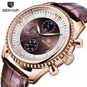 BENYAR Golden Brown Genuine Leather Quartz Watch Waterproof Luminous Top Brand Luxury Wrist Watch Male Sport Business Date Clock