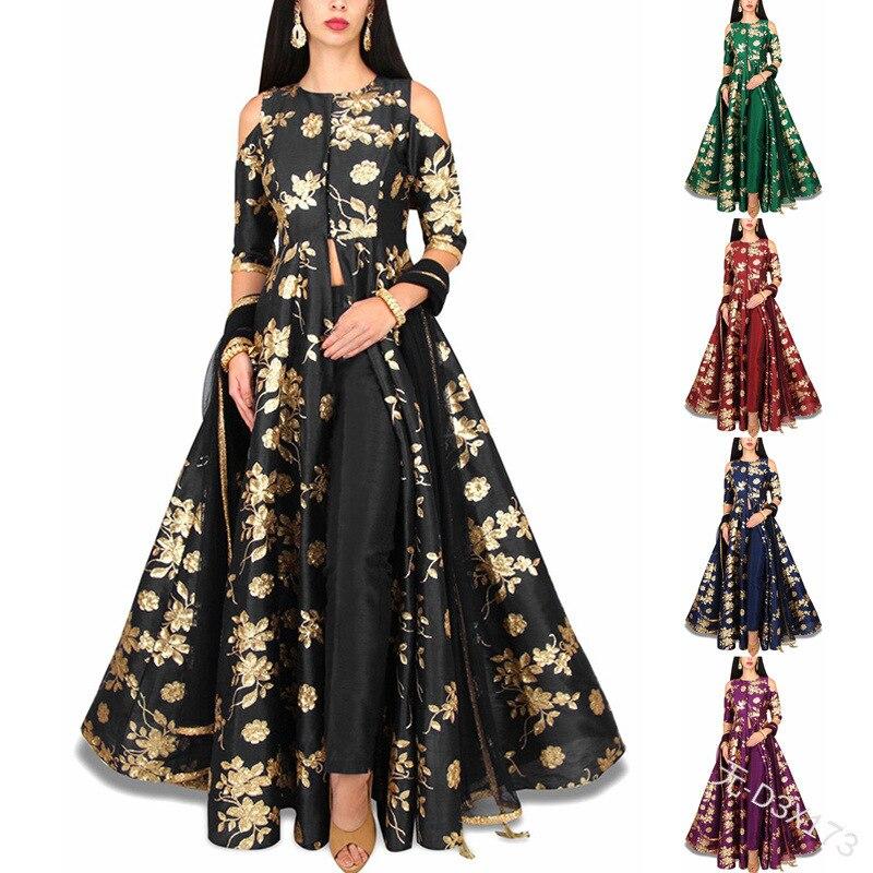Spring Elegant Print Women Dress Moroccan Slim Fit Big Swing Off Shoulder Maxi Dress India A-line Party Dress 2021