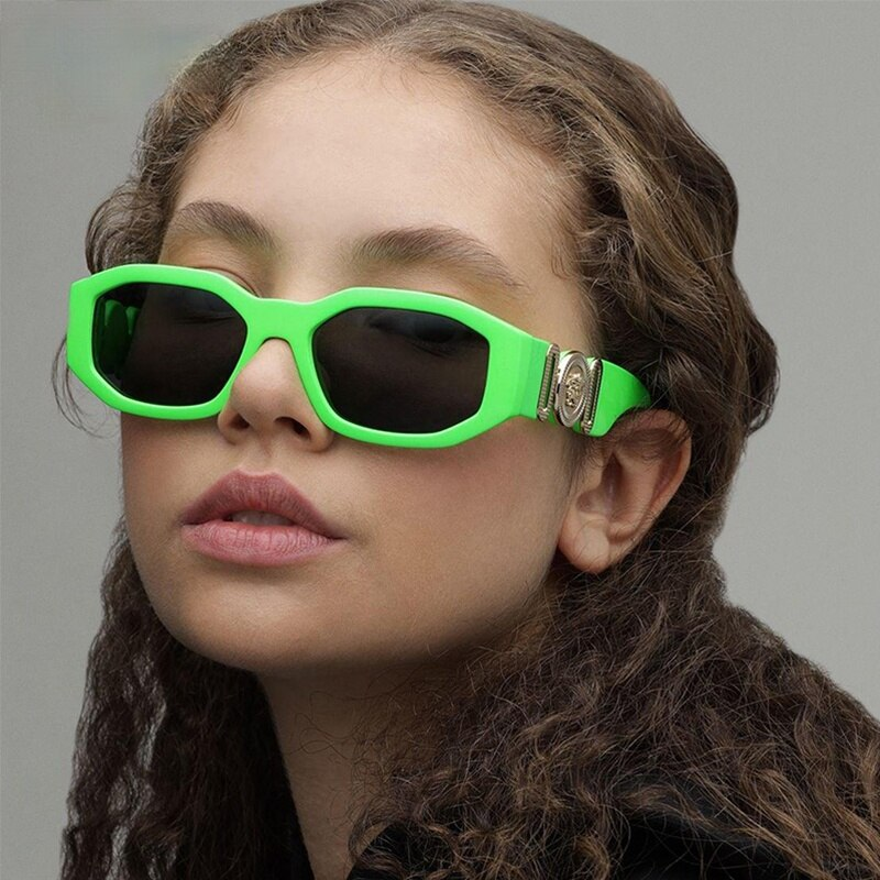 Luxury  Green Women's Sunglasses Vintage Colorful Frame Small Rectangle Mens Sun Glasses UV400 Drivi