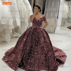 Gorgeous Purple  Wedding Dresses 2021 Lace Up Paillette Ball Gown robe de mariée Bridal Dress Custom Made vestido de noiva