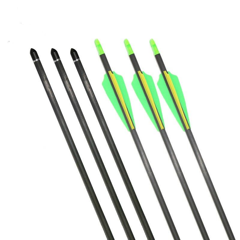 3/6/12pc 82mm arco recurvo y compuesto Universal flecha OD 7,6mm rotación de la cola puede cambiar la cabeza Flecha de carbono puro caza tiro