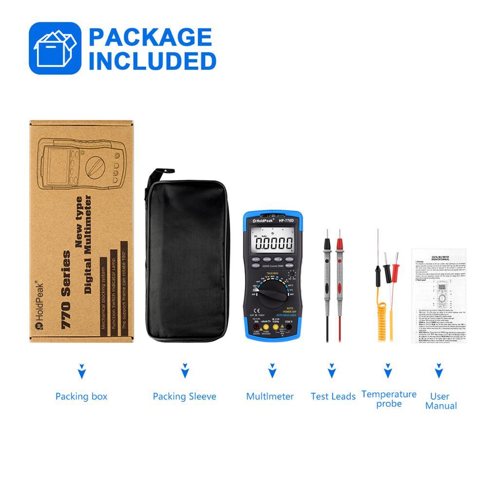 Купить с кэшбэком HoldPeak Digital Multimeter HP-770D High-Accuracy Auto Range True RMS 40000 Counts NCV AC DC Voltage Current Ohm Tester