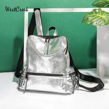WESTCREEK marque argent sac à dos femmes en cuir artificiel anti-vol dame petit voyage sacs à dos sac