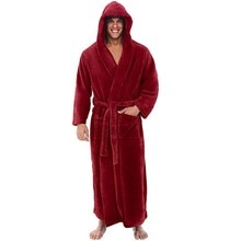 Men's Winter Plush Lengthened Shawl Bathrobe Home Clothes Long Sleeved Robe Coat Men Robe Albornoz H