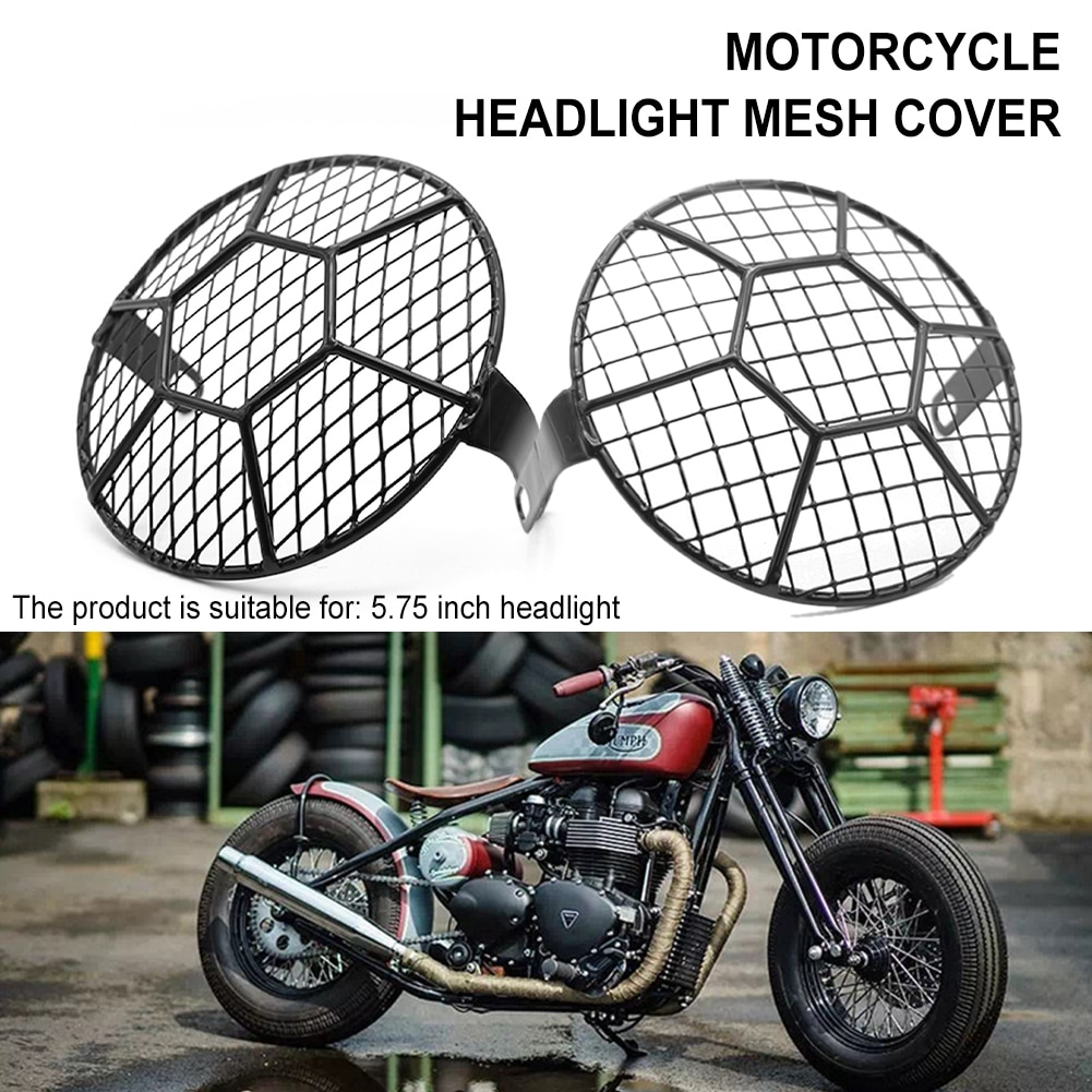New Universal Motorcycle Headlight Grill Cover Metal Retro Headlamp Protector Mesh Protection Black