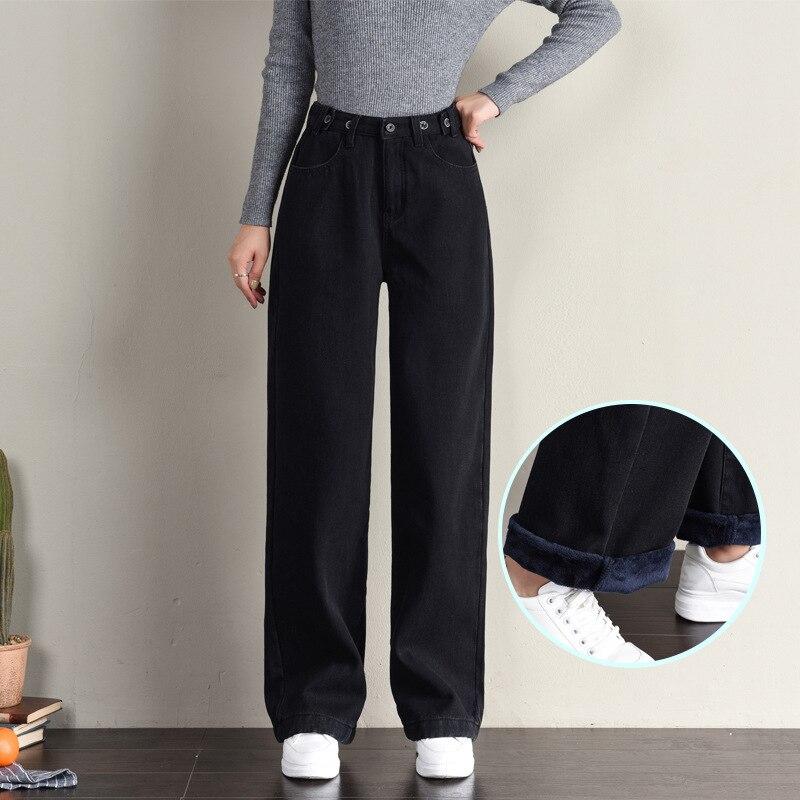 Женские джинсы с высокой талией и широкими штанинами, женские осенне-зимние флисовые теплые черные прямые свободные джинсовые шаровары, дж...