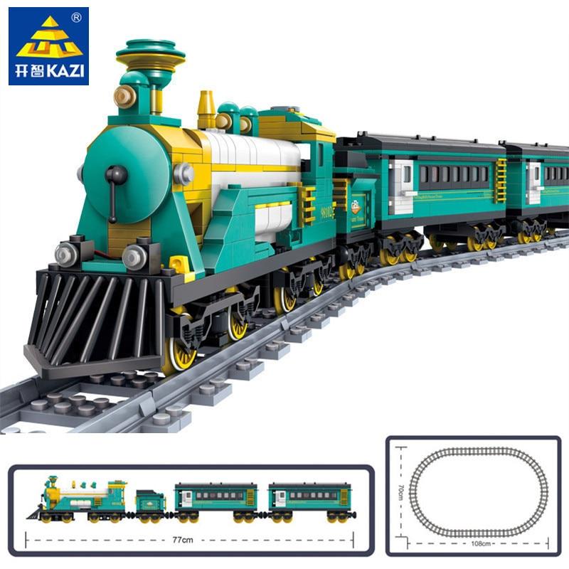 851 Uds Puffingbilly tren de vapor alimentado por batería envase de vapor eléctrico tren Kits conjuntos de bloques de construcción juguetes educativos para niños