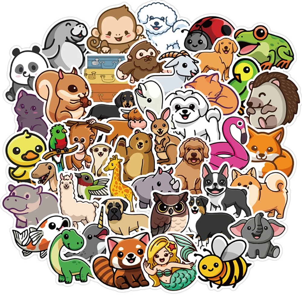 10/30/50PCS Cute Animal Cartoon Graffiti Stickers Laptop Snowboard Luggage Fridge Guitar Classic Toy Cool Decals Sticker for Kid