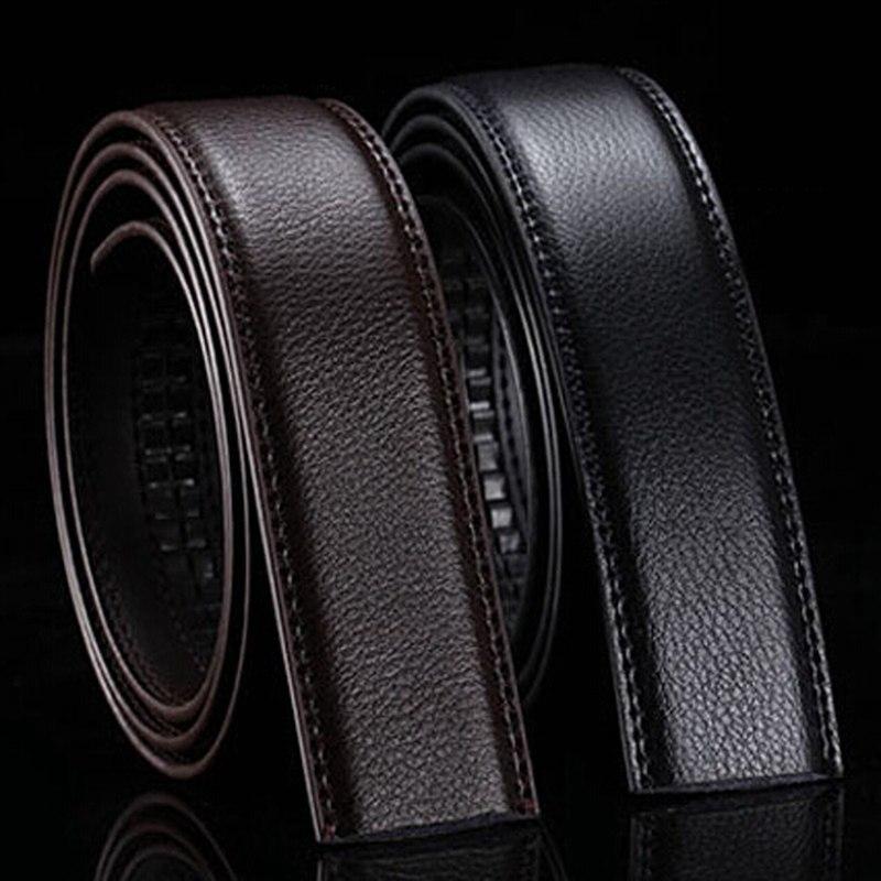 Marca sin hebilla de 3,5 cm de ancho de cuero genuino Correa automática del cuerpo sin hebilla cinturones hombres cinturones masculinos de buena calidad