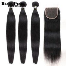 Tissage en lot naturel péruvien Non Remy-Black Pearl   Cheveux lisses, avec Closure, lots de 3 4 pièces/lot