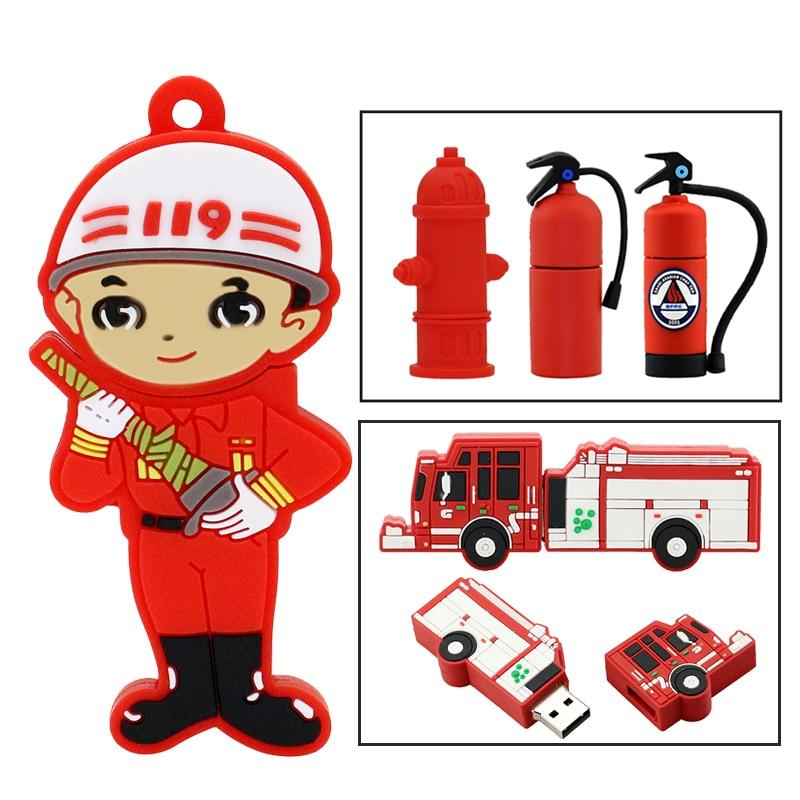 Cartoon Fireman Pendrive Fire Truck/Water Valve Usb Flash Drive 32GB 16GB 8GB 4GB Memory Stick Fire Extinguisher Gift Usb Card