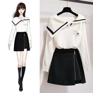 Spring Winter Set Women Long Sleeve Turn-down Collar Knitted Sweater + A-Line Mini Skirts Suit Women Korean Two Piece Set