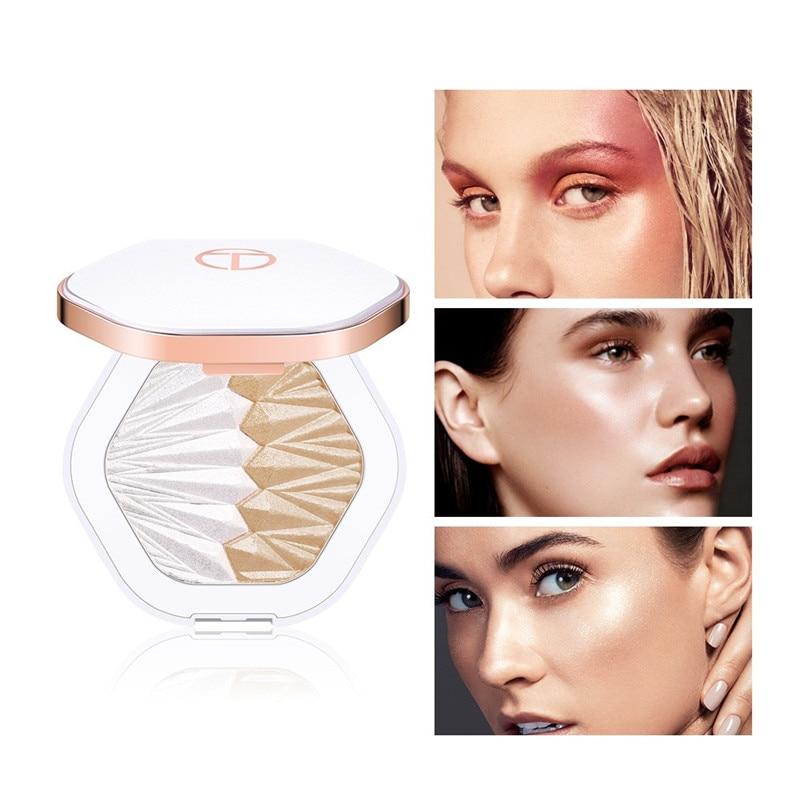 O.TW O.O 2 en 1 resaltador de paleta Maquillaje facial brillo resaltador iluminador maquillaje brillante perla blanco rosa púrpura