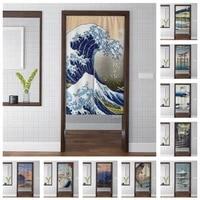 japan ukiyo e door curtain artistic mount fuji waves landscape painting kitchen room shading entrance tapestry door curtain