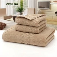 3pcs bath towel set thickened super absorbent shower 4 color cotton home 70140 cm beach towel for adult gifts large terry towel