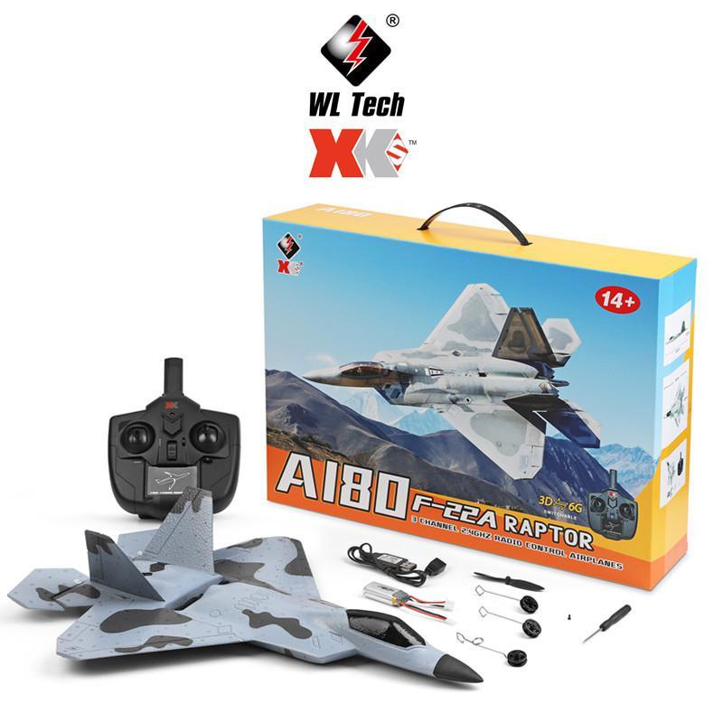 XK A180 F22 3CH PPE Avión de alto rendimiento de 1106 Motor sin escobillas Cámara 3d / 6g giroscopio fijo planeador con alas juguete modelo de avión