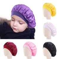 new kids faux silky bonnet cap solid color turban chemo hat wide elastic band solid night sleep for children unisex hair jewelry