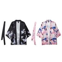 6color japanese samurai crane print cardigan male kimono haori belt 2pcs autumn thin jacket outfits loose pajamas sleepwear