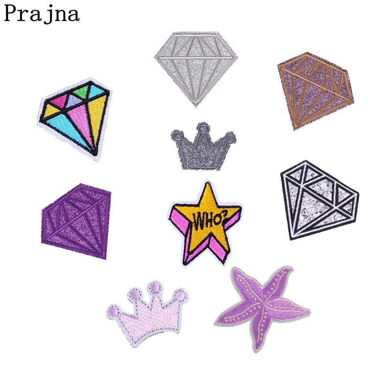Prajna diamante corona Blingbling pegatinas hierro en parche jeans DIY camiseta parches de costura ropa reina Moda Mujer Accesorios