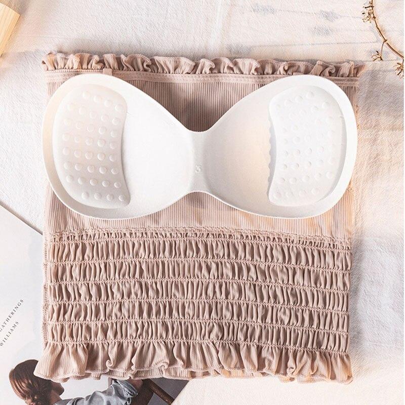 Top sin hombros Bandeau sin tirantes plisado Mujer verano envuelto pecho ropa interior Jersey blusa tubo Cami hh88