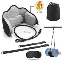 Portable adultes cou hamac ensemble bureau cou reste civière soulage voyage mousse oreiller avec masque accessoires cou hamac
