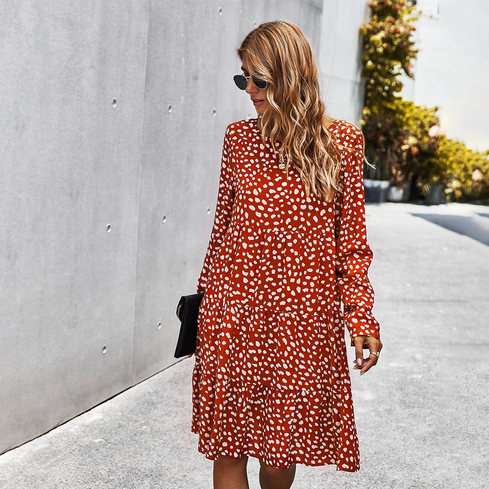 New Autumn Print Midi Dresses for Women Casual Vestidos Para Mujer Sukienka Long Sleeve Red Green Black Dress Robe Negro Elbise