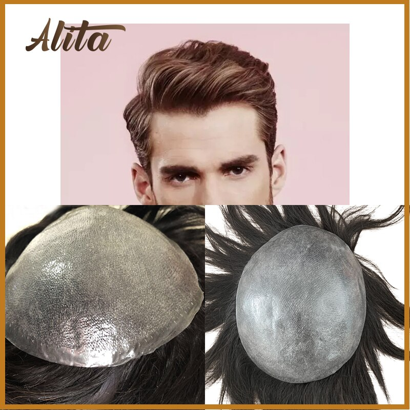 PU Toupee for Men Super Thin Skin Durable Comfortable Hair Replacement System Unit Natural Hairline Black Simulate Hairwigs