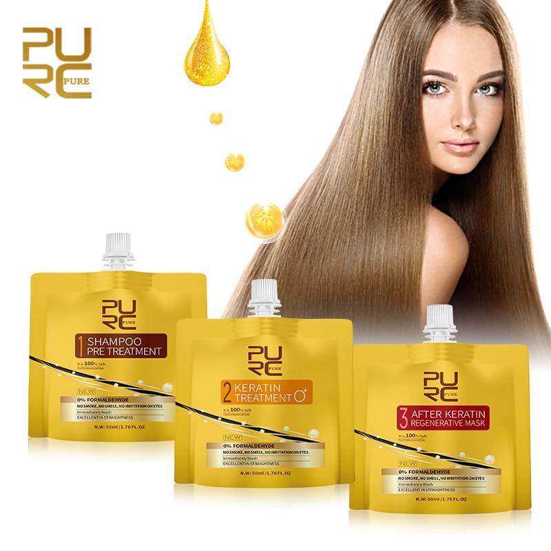 3PCS PURC Keratin Hair Treatment Set 0% Fomalin Repair Damaged Frizzy Hair Straightening No Irritation Scalp Hair Care Products