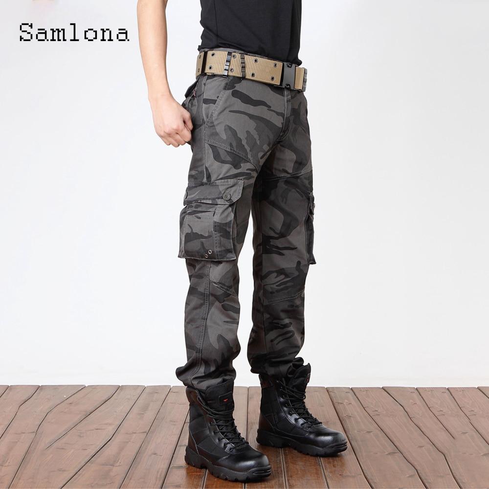 Samlona Plus Size Mens Fashion Camouflage Pants 2021 Autumn Moto & Bike Pants Male Zipper Pockets Trouser Outdoor Cargo Pant zipper fly pockets embellished plus size cargo pants
