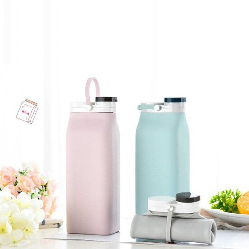 Botella de agua plegable portátil de silicona de 600 ML, Petaca de agua compacta ligera para viajes de Camping, senderismo y deportes