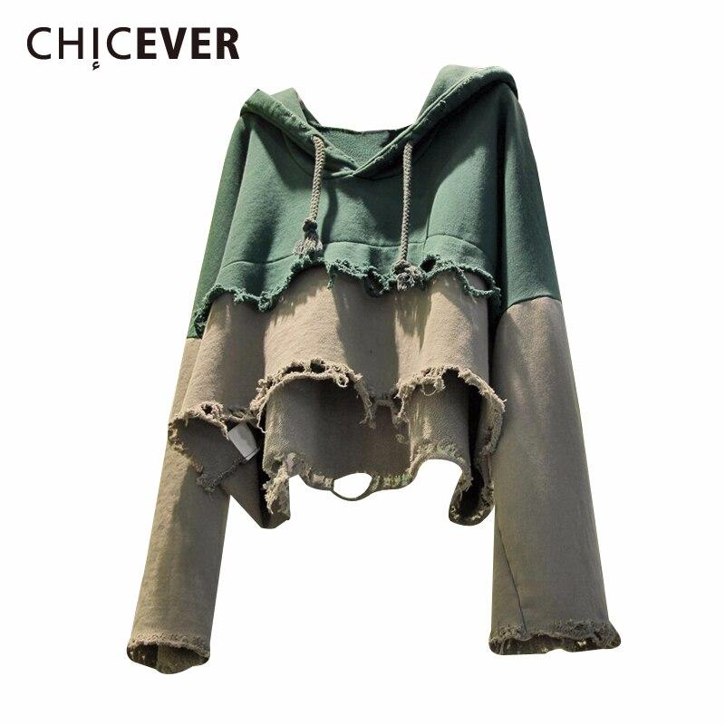 CHICEVER-سويت شيرت نسائي بأكمام طويلة ، ملابس مرقعة ملونة ، ملابس عصرية ، مقاس كبير ، 2020