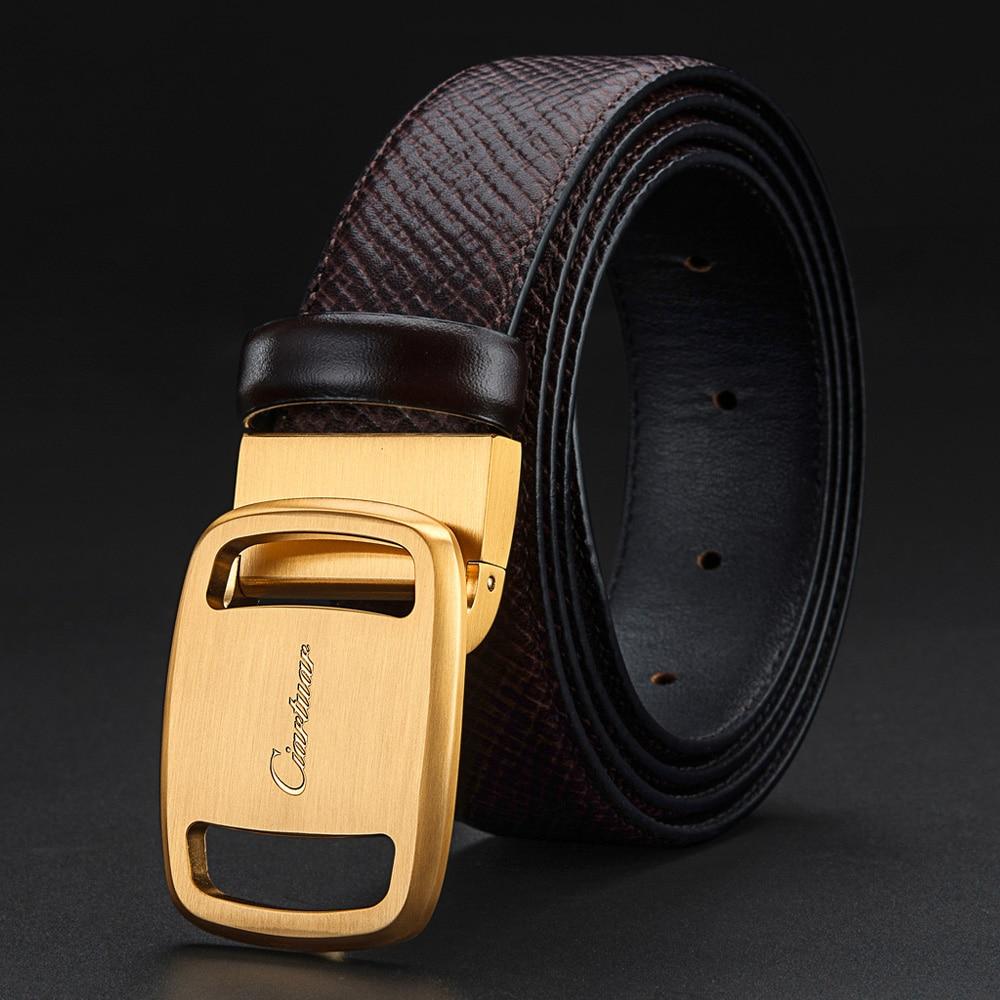 Ciartuar, cinturón de cuero genuino, cinturón de diseñador, hebilla de Oro fino de Metal, cinturón de negocios de alta calidad informal, cinturones para hombres, regalo