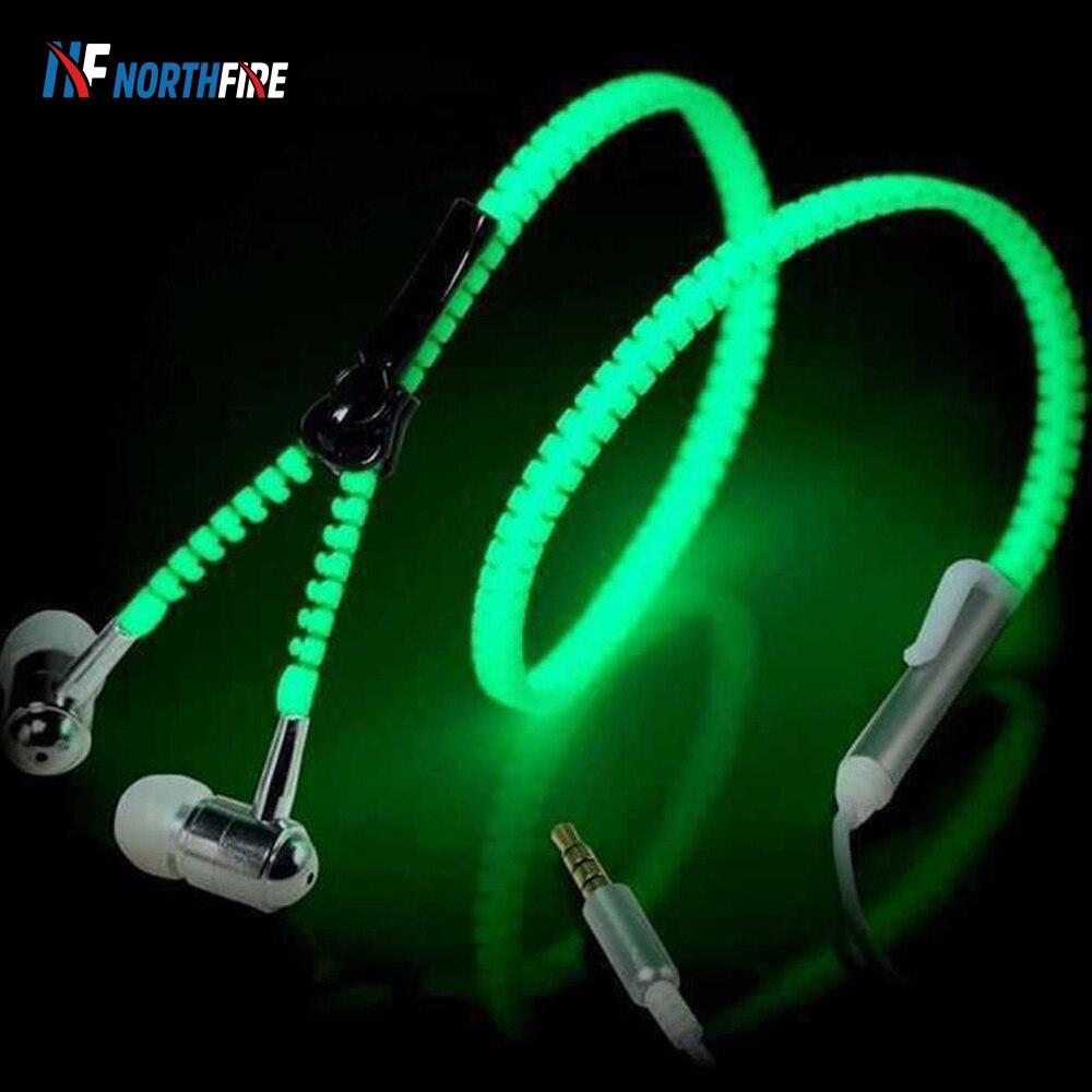 Auriculares NORTHFIRE luminosos con cremallera, Auriculares deportivos para música, auriculares con cable, luz brillante en la oscuridad para MP3, Iphone, Samsung, 3,5mm