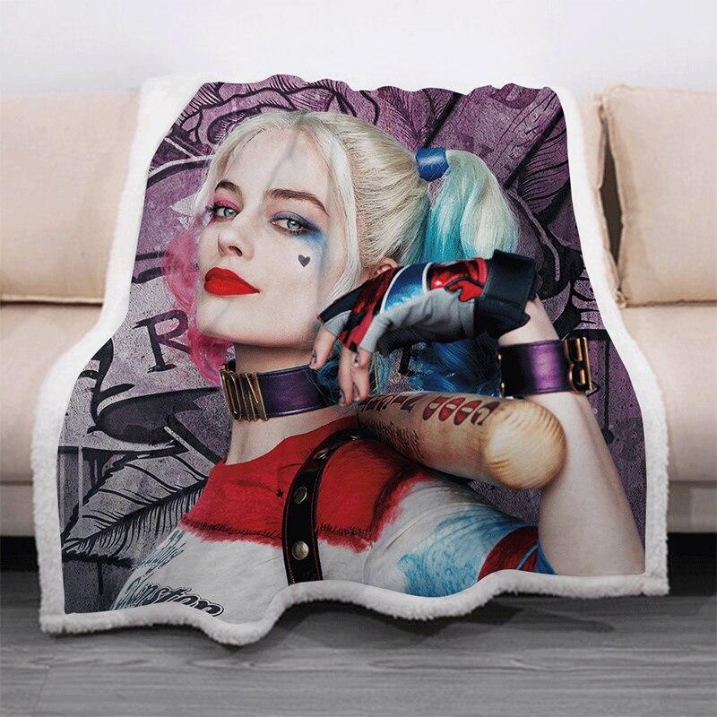 Harley Quinn manta de personaje divertido 3D estampado de manta de Sherpa en la cama Textiles para el hogar estilo de ensueño 08