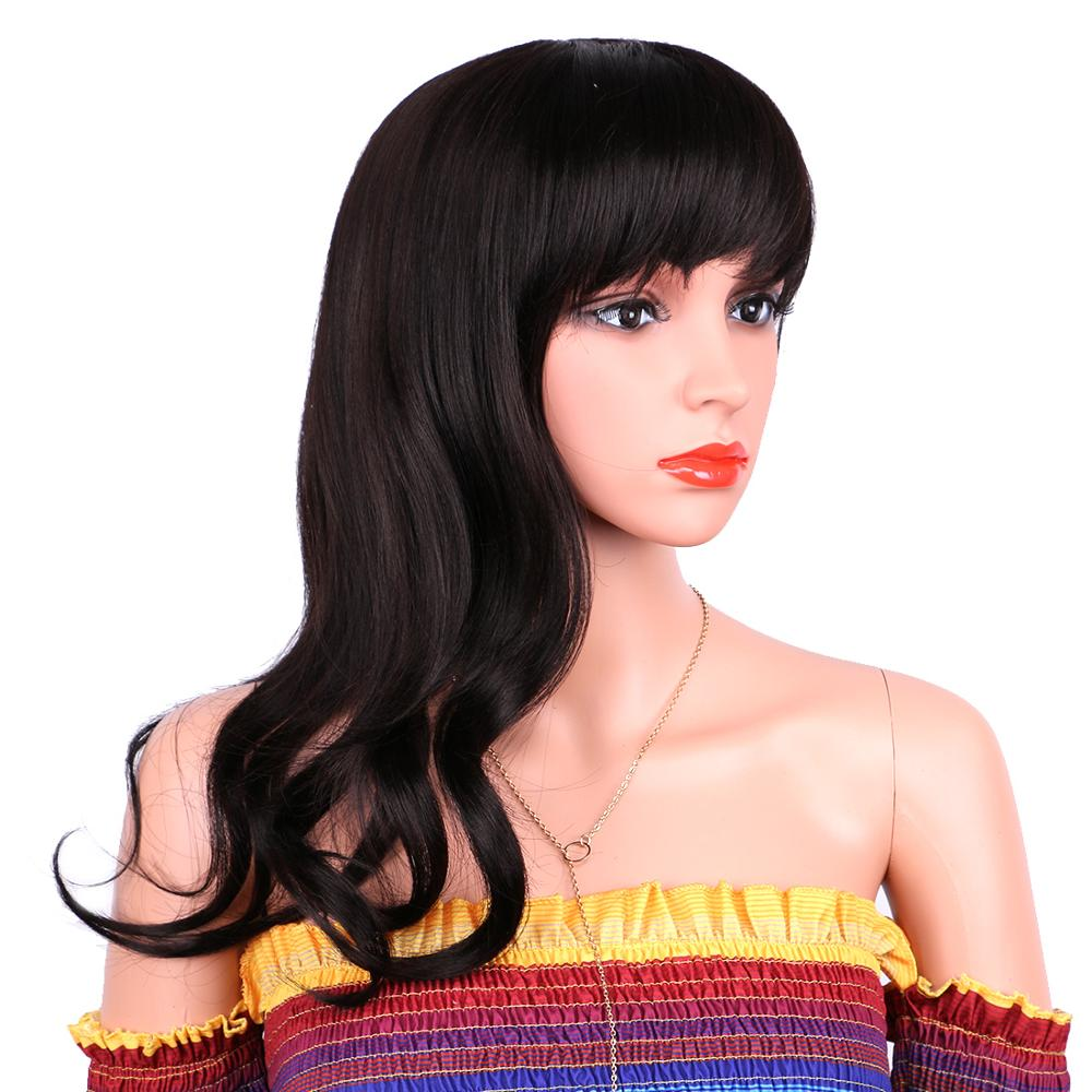 Natural Wave Synthetic Hair Wig with Bangs Color Black 16 Inch Heat Resistant Fiber Wigs for Women African American