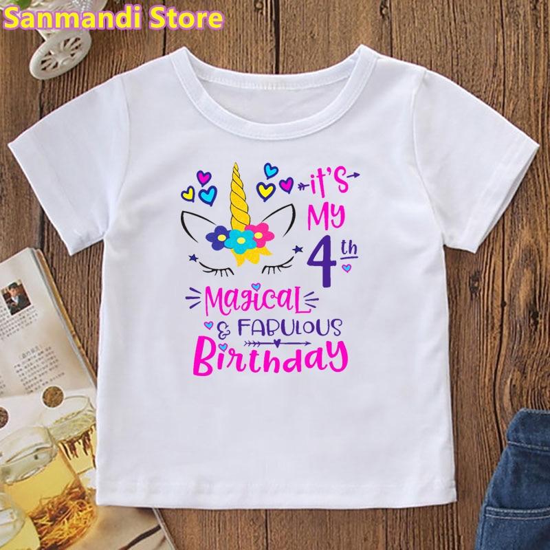 AliExpress - It Is My 4th/5th Magical Birthday Graphic Print Tshirt Kids Clothes Kawaii Love Unicorn T Shirt Girls Kawaii Children Clothing