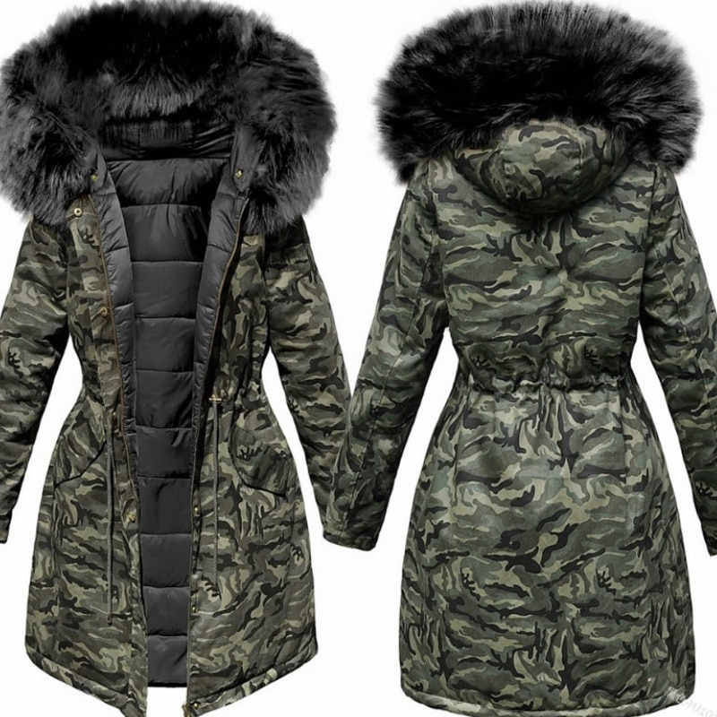 معطف شتوي للنساء من Lugentolo سترة بقلنسوة مزودة بسحّاب أنيق وأكمام طويلة ضيقة للنساء