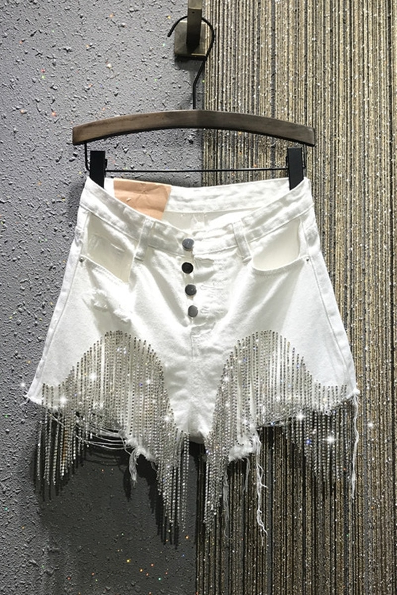 2020 summer new high waisted breasted tassel chain slim slim white denim shorts woman